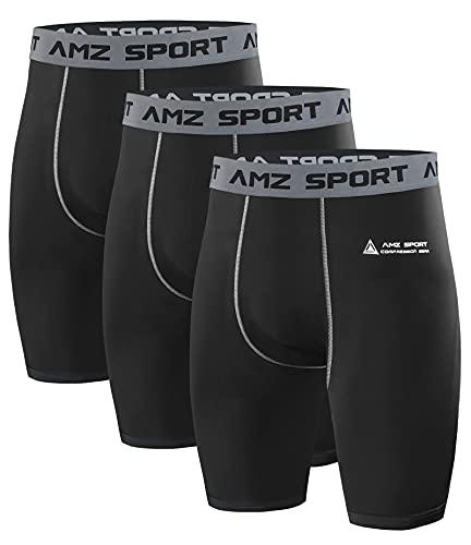 AMZSPORT 3er Pack Herren Kompressionsshorts, Kurze Kompressionshosen Radlerhose Schnelltrocknende Sporthose...