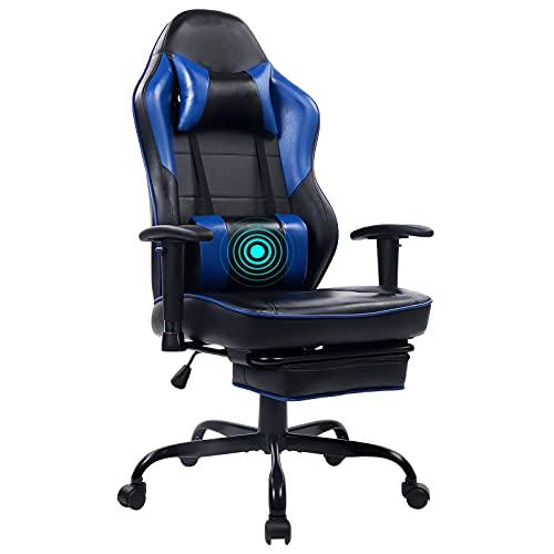 Wolmics Massage Gaming Stuhl Hohe Rückenlehne Racing PC Computer Bürostuhl Drehbarer Ergonomischer Executive...