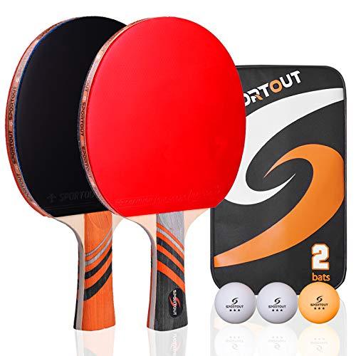 Easy-Room Tischtennisschläger, Tischtennis-Set mit 2 Schlägern und 3 Bällen und Tischtennis-Schläger mit...