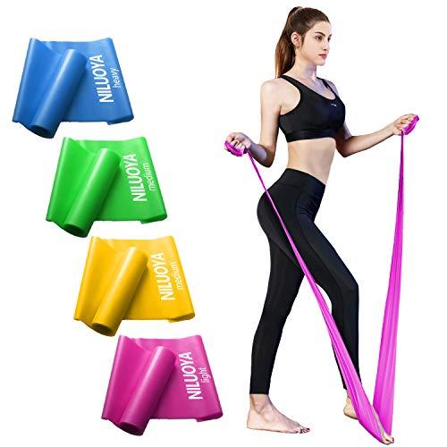 Niluoya Fitnessband 4er Set, Theraband Terrabänder Gymnastikband Terabänder Trainingsband Gummiband...