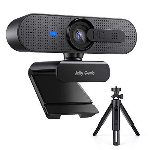 Jelly Comb HD USB Computer Webcam mit Stativ Set 1080P Webkamera mit Autofokus, Sichtschutz und Dual-Mikrofon...