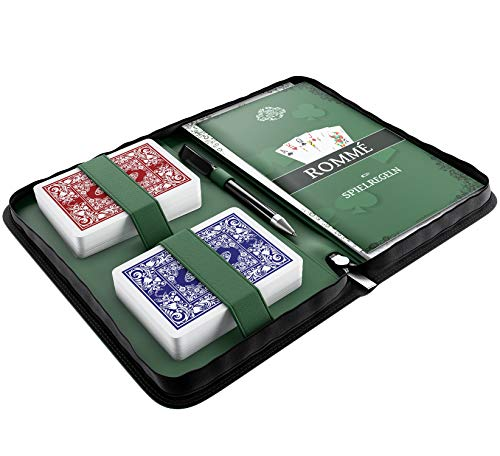 Bullets Playing Cards Rommé Set in Kunstleder-Etui, inklusive Plastik Spielkarten, Spielregeln mit 15...