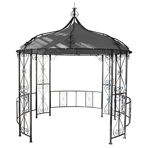 Mendler Pergola Almeria, Rundpavillon Garten Pavillon, stabiles Stahl-Gestell Ø 3m - grau