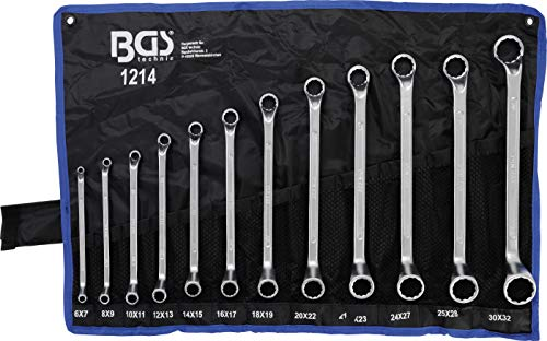 BGS 1214 | Doppel-Ringschlüssel-Satz | 12-tlg. | gekröpft | SW 6 x 7 - 30 x 32 mm | inkl. Tetron-Rolltasche...