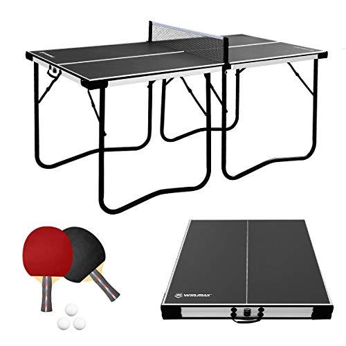 WIN.MAX Tischtennisplatte Midsize, 5.5FT Klappbare Tischtennistisch mit Netz, 2021 Neu TT-Platte für Indoor...