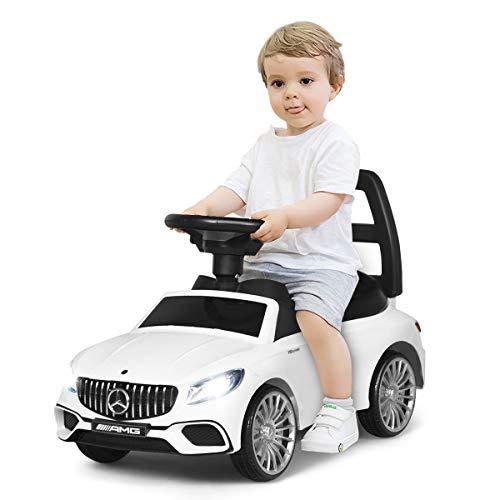 COSTWAY 2 in 1 Kinderauto und Schiebeauto mit LED Scheinwerfer, Hupe und Musik, Rutschauto mit...
