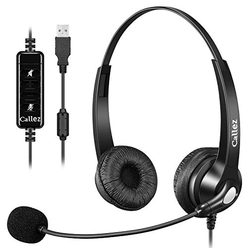 USB Headset PC für Business Skype UC Lync SoftPhone Call Center Office, Stereo PC Kopfhörer mit Mikrofon...