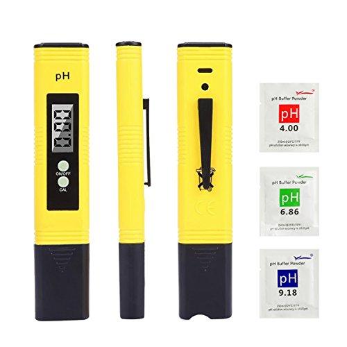 pH Messgerät, pH Tester für Wasserqualität mit LCD-Display, tragbarer pH Messer, Monitor für...