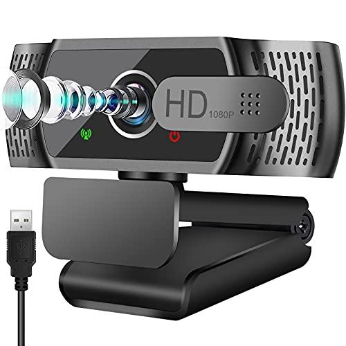Full HD1080P Webcam mit Mikrofon, Automatischer Lichtkorrektur, Neefeaer USB PC Webcam mit Abdeckung,110°...