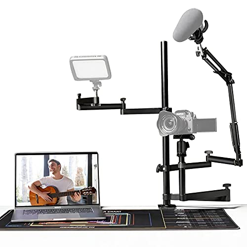Streaming Studio Desktop Stand Setup mit Mikrofonarm, kompatibel mit DSLR-Kameras, Mikrofon und Videoleuchte...