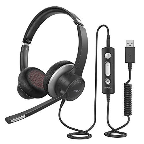 Mpow PC Headset HC6, 3,5mm Klinke Headset Handy,USB Headset mit Noise-Cancelling-Mikrofon, Chat Headset für...