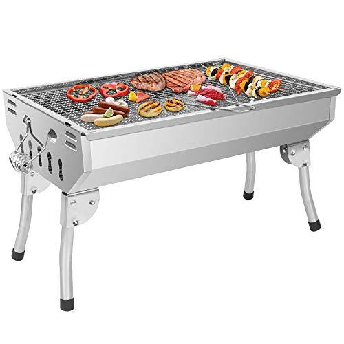 Sunjas Picknickgrill Edelstahl Holzkohlegrill Kleiner Grill Portable Campinggrill Abnehmbare BBQ Grills für...