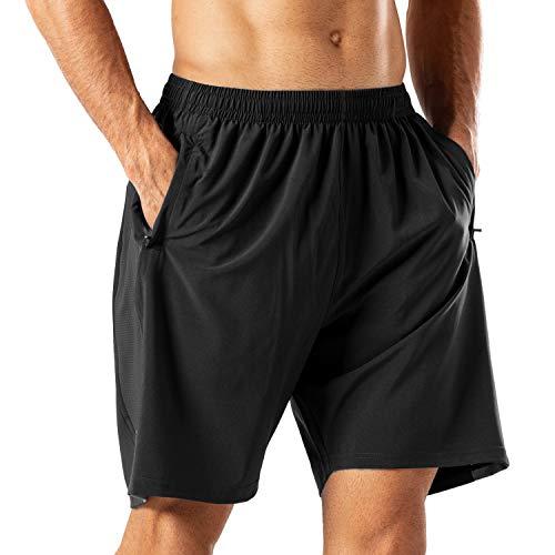 Herren Sport Shorts Schnell Trocknend Kurze Hose mit Reißverschlusstasch(Schwarz,L)