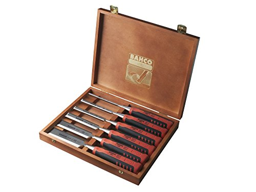 Bahco 424P-S6-EUR BH424P-S6-EUR Stechbeitel-Satz 6/10/12/18/25/32mm 6-teilig in Holzbox, Mehrfarbig,...