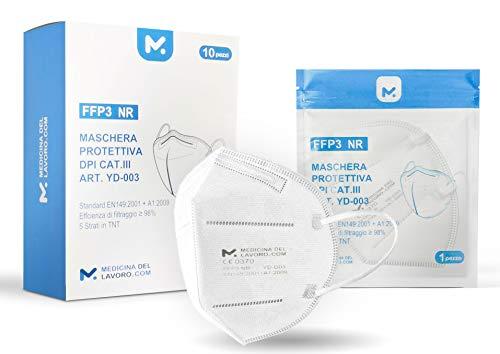 10 FFP3 Mund- und Nasenschutz Maske mit EC Zertifizierung, 5 lagige Maske ohne Ventil, Staub- und...
