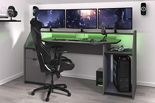 Wohnorama Gamer Tisch PC Schreibtisch inkl LED Beleuchtung Set Up von Parisot Grau/Schwarz by