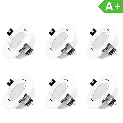 LED Einbaustrahler Dimmbar und Schwenkbar IP20 Ultra flach inkl. 6 x 5W GU10 Leuchtmittel austauschbar Farbe...