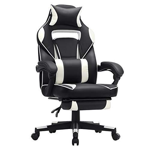 SONGMICS Gamingstuhl, Schreibtischstuhl mit Fußstütze, Bürostuhl mit Kopfstütze und Lendenkissen,...