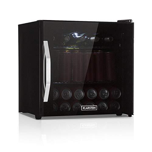 Klarstein Beersafe - Minibar, Mini-Kühlschrank, Getränkekühlschrank, leise, 42 dB, Edelstahl, Glastür,...