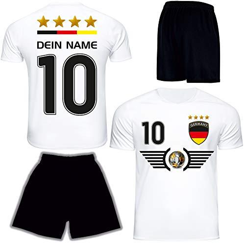 DE FANSHOP Deutschland Trikot mit Hose & GRATIS Wunschname + Nummer EM WM Weiss #D6 2021 2022 - Geschenk für...
