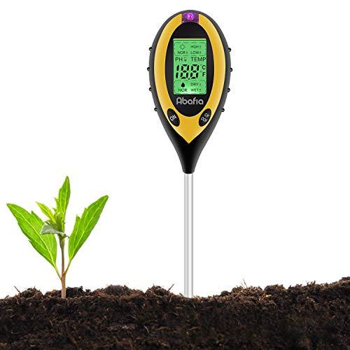 Abafia Bodentester Pflanzen Tester, 4-in-1 PH-Meter, Sonnenlicht, Temperatur, Feuchtigkeitsmesse PH Wert...