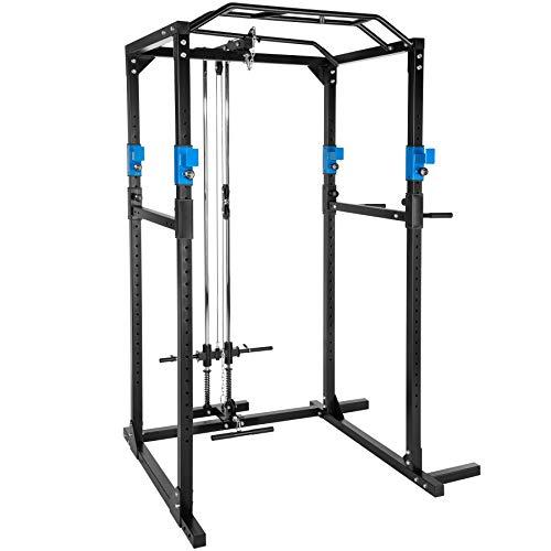 TecTake Kraftstation Fitnessstation Power Rack Power Cage | Klimmzug-Doppelstange | Robuster Rahmen aus...