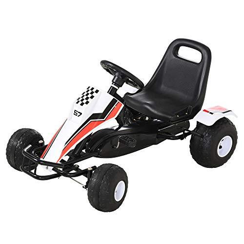 HOMCOM Go Kart Kinderfahrzeug Tretauto mit Pedal Bremsen Sitz Verstellbar Kinderspielzeug für 3-8 Jahre Stahl...