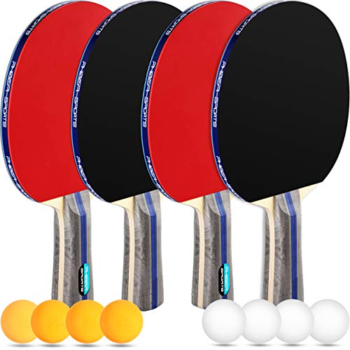 PHIBER-SPORTS Premium Tischtennisschlaeger Set – 4 Tischtennisschläger + 8 Tischtennis-Bälle + Tragetasche...