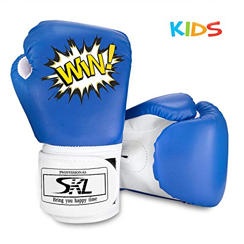 SKL Kinder Boxhandschuhe, Pu Kinder Kinder Cartoon Sparring Boxhandschuhe Training Alter 5-12 Jahre (Blau)