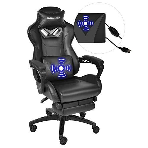 Massage Gaming Stuhl mit Fußstütze, Ergonomischer Bürostuhl mit einstellbare Armlehne, Computer Stuhl...