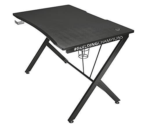 Trust Gaming Tisch - GXT 711 Dominus Ergonomischer Gaming Schreibtisch mit Kabelmanagementsystem, Headset- und...