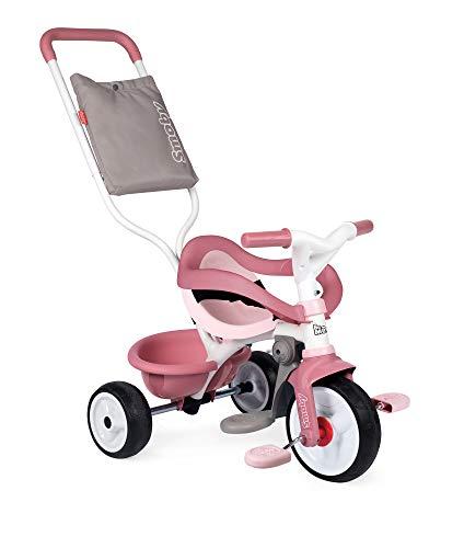 Smoby 740415 - Be Move Komfort rosa - Kinderdreirad mit Schubstange, Sitz mit Sicherheitsgurt, Metallrahmen,...