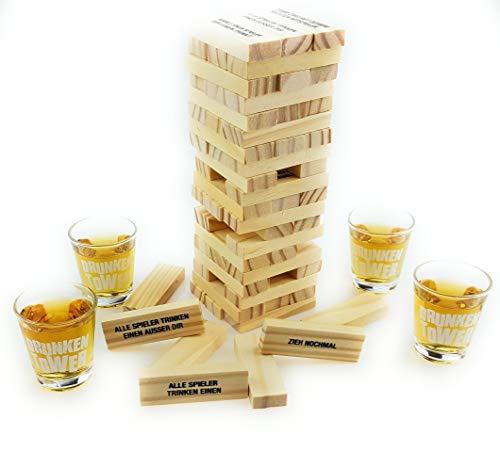 Bambelaa! Trinkspiel Partyspiel Wackelturm Drunken Tower inklusive vier Trinkgläser ca. 4cl (Deutsche...