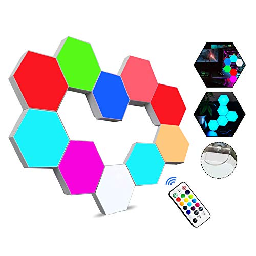 Sechseckige LED Wandleuchten mit Fernbedienung,Intelligente LED Lichtplatten RGB Gaming Lampe Touch-Steuerung...