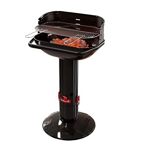 Barbecook Holzkohlegrill Säulengrill Stand-Grill eckig 3-Fach höhenverstellbar mit Quick-Stop, schwarz,...