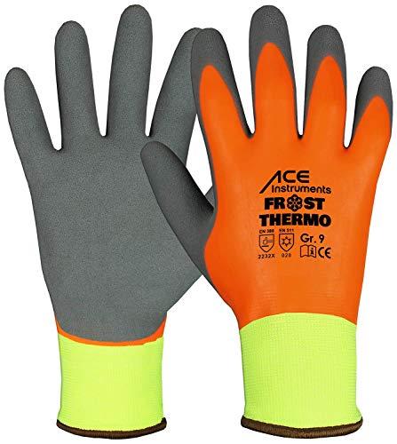ACE 1 Paar Frost Thermo Winter-Arbeitshandschuhe - Kälte-Schutzhandschuhe - EN 388/420/511 - Orange/Blau -...