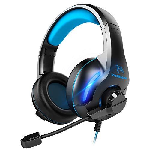 YINSAN Xbox One Headset, Gaming Headset PS4 Headset Surround Stereo Gaming Kopfhörer mit Mikrofon und LED...
