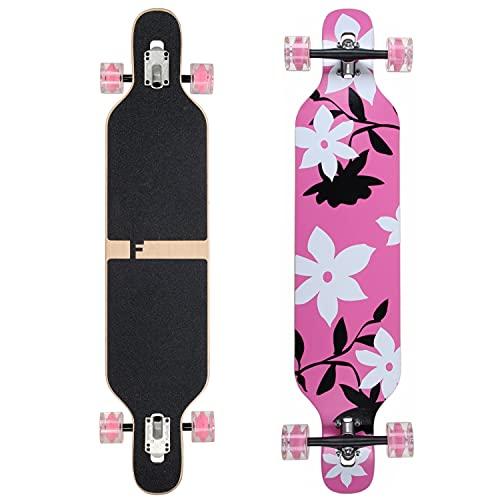 Flex3 bis 68kg - Camber Longboard - pink Flower LED