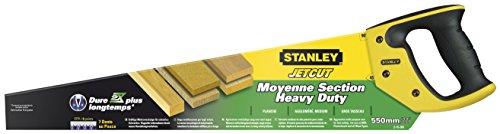 Stanley JetCut Handsäge grob (550 mm Länge, 7 Zähne/Inch, Bi-Material, Hardpoint-Verzahnung,...