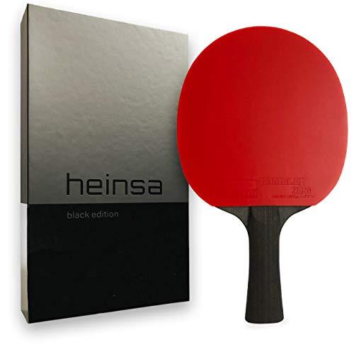heinsa Carbon Profi Tischtennisschläger ITTF Wettkampf zugelassen Black Edition aus Lichtnussbaum mit Premium...