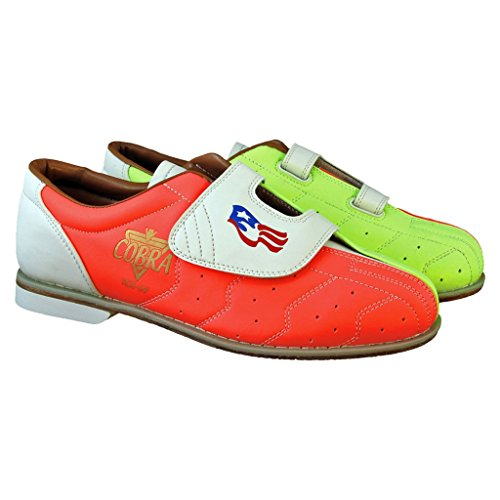 Herren Glow TCRGV Cobra Rental Bowling-Schuhe, Klettverschluss, Neongelb/Orange/Weiß, Größe 42