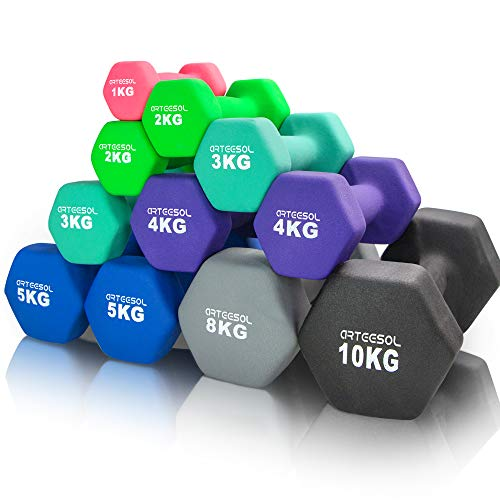 arteesol Neopren Hanteln, Kurzhanteln 2er-Set 1kg/2kg/3kg/4kg/5kg/8kg/10kg rutschfest Fitness Hantelset...