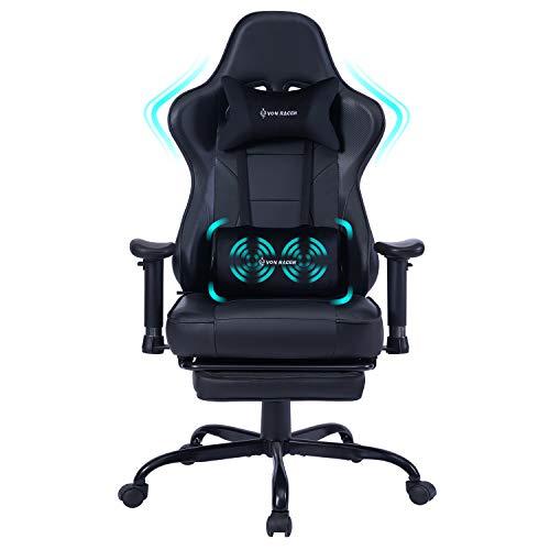 Gaming Stuhl Bürostuhl Ergonomischer mit Massage Lendenwirbelstütze- Hohe Rückenlehne Verstellbarer...