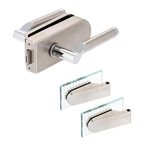 Glastürbeschlag'D' Set UV | V2A Edelstahl matt | inkl. Studiobändern | metallische Innenmechanik | Lightning