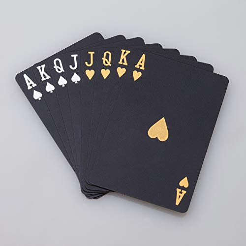 ACELION wasserdichte Spielkarten, Plastik Pokerkarten, Poker Karten Set, Playing Cards (Black Diamond Cards)