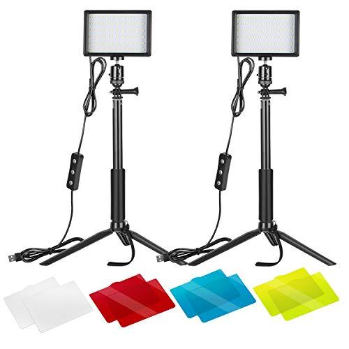 Neewer 2er-Pack dimmbares 5600K USB-LED-Videolicht mit verstellbarem Stativ und Farbfiltern für Tisch- /...