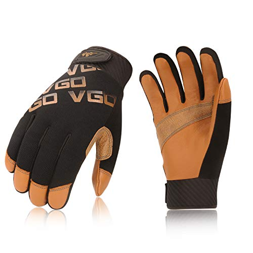 Vgo 3 Paare Ziegenleder Leichte mechanische Arbeitshandschuhe, Rigger-Handschuhe, wasserabweisend, Touchscreen...