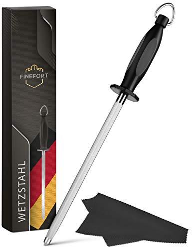Finefort Wetzstahl für Messer - Premium Wetzstab inklusive Reinigungstuch und Tipps & Tricks - Messer...
