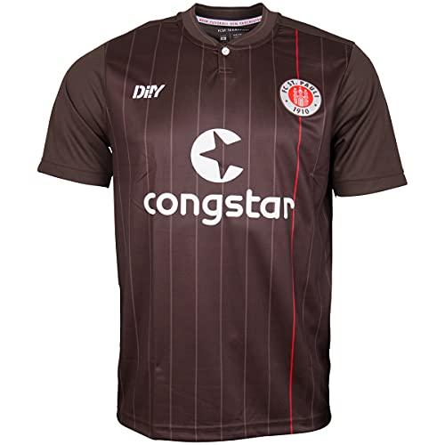 FC St. Pauli Trikot Teamshirt T-Shirt Heim 2021-22 - braun + Sticker (L, l)