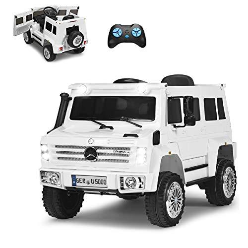 COSTWAY 12V Mercedes Benz Eletro Kinderauto mit Radiofunktion | Musik | LED Lichter | Soundeffekt | USB | 3...